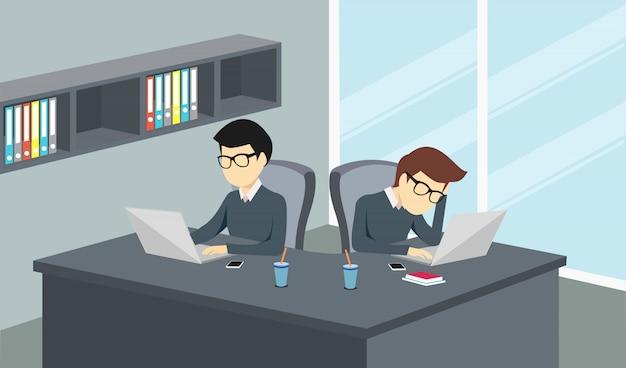 Pessoas que trabalham em um escritório com um computador Vetor Premium