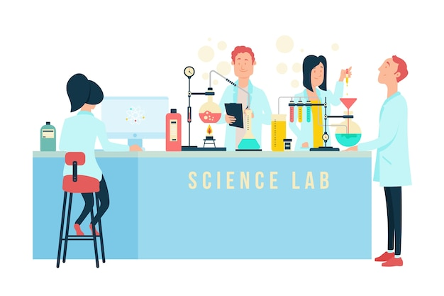 Pessoas que trabalham em um laboratório de ciências Vetor grátis