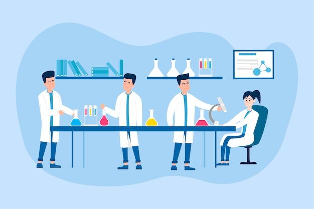 Pessoas que trabalham em uma ilustração de laboratório de ciências Vetor grátis