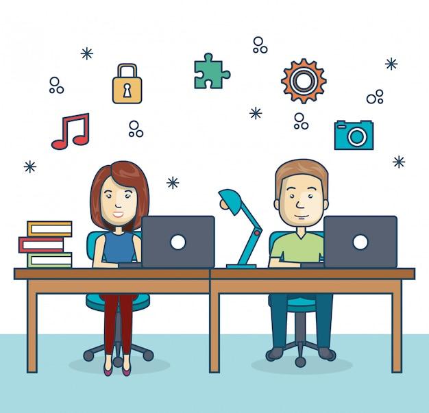 Pessoas que trabalham ícone do escritório Vetor Premium