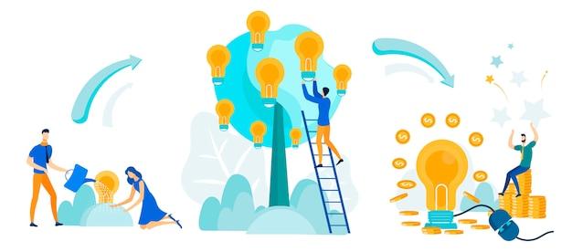 Pessoas que trabalham juntas para alcançar o objetivo. Vetor Premium
