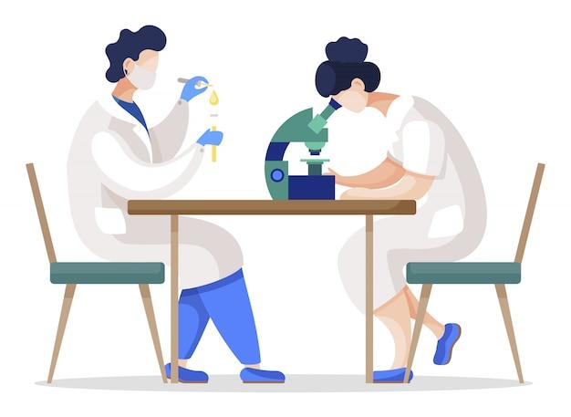 Pessoas que trabalham na análise de substâncias em equipe. alunos de química isolados em aula de laboratório Vetor Premium