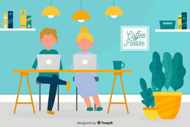 Pessoas que trabalham no design plano de escritório Vetor grátis