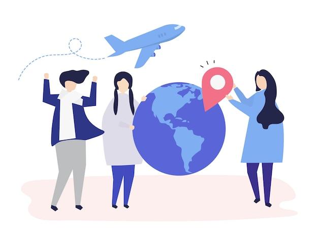 Pessoas que transportam diferentes viagens relacionadas com ícones Vetor grátis