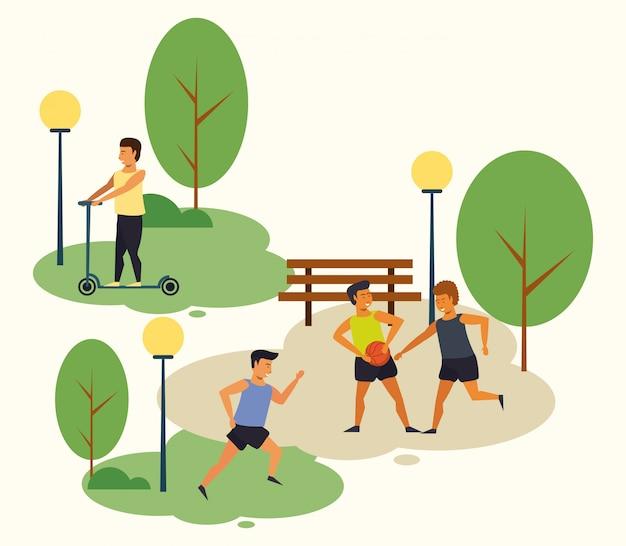 Pessoas que treinam esportes no parque Vetor grátis