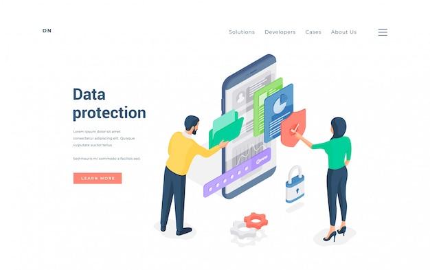 Pessoas que usam dados protegidos navegam na pasta enquanto mulher verificando arquivos na ilustração isométrica de smartphone Vetor Premium