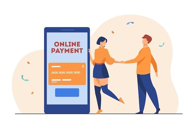 Pessoas que usam o aplicativo móvel de pagamento online. ilustração de desenho animado Vetor grátis