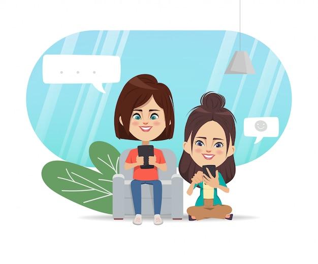 Pessoas que usam telefone celular para comunicação de rede de mídia social. Vetor Premium
