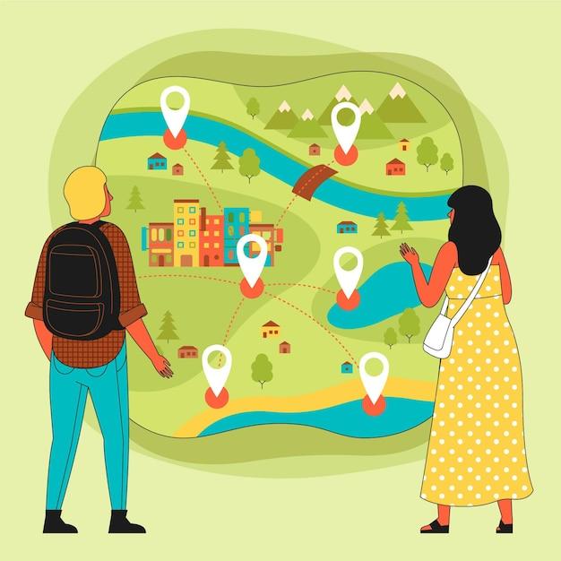 Pessoas que usam um mapa conceito de turismo local Vetor Premium