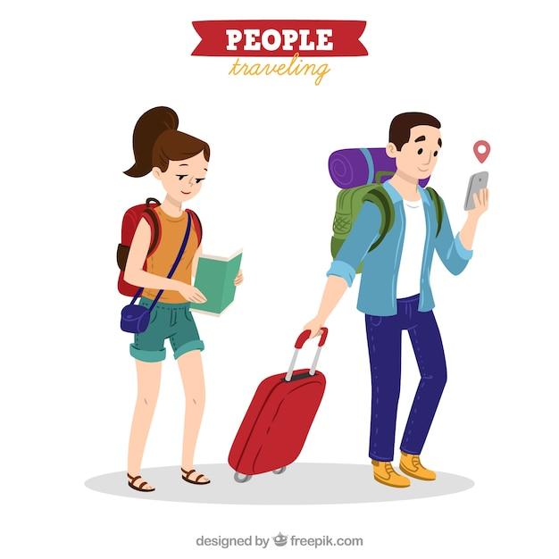 Pessoas que viajam no estilo desenhado a mão Vetor grátis