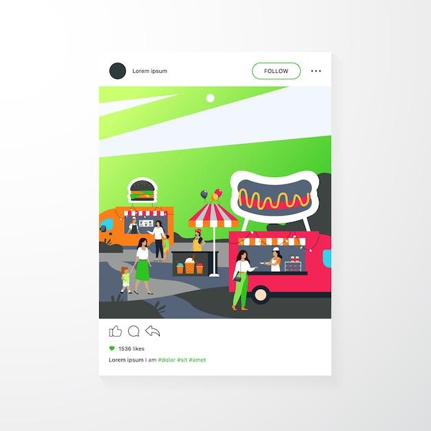 Pessoas que visitam a feira de comida de rua. pais e filhos comprando fast food em caminhões ao ar livre Vetor grátis