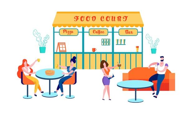 Pessoas que visitam a praça de alimentação para comprar comida, cafe Vetor Premium