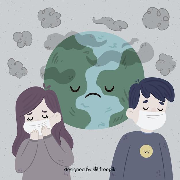 Pessoas que vivem em um mundo cheio de poluição Vetor grátis