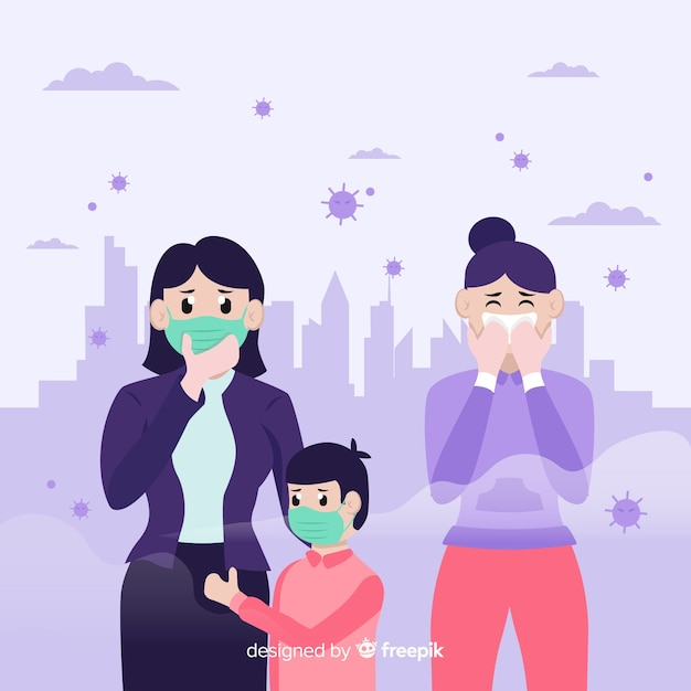 Pessoas que vivem em uma cidade cheia de poluição Vetor grátis
