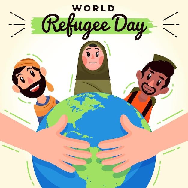 Pessoas refugiadas e planeta terra Vetor grátis