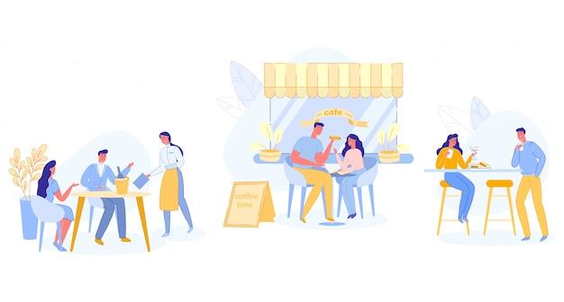 Pessoas relaxadas sentado em mesas no café ao ar livre Vetor Premium