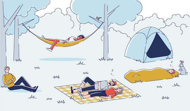 Pessoas relaxando durante uma caminhada grupo de amigos dormindo ao ar livre Vetor Premium