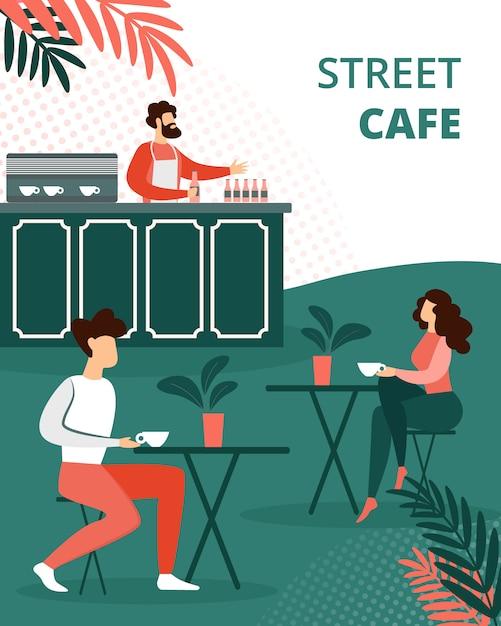 Pessoas relaxando no café de verão ao ar livre, relaxar Vetor Premium