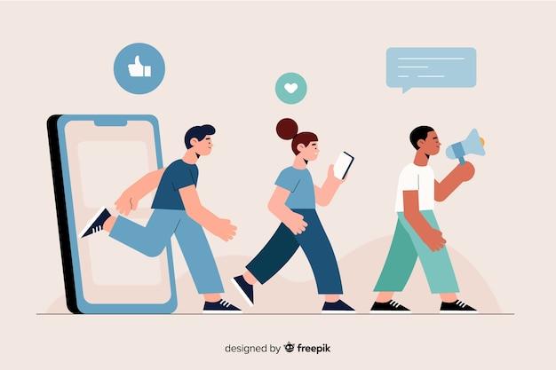 Pessoas saindo através de uma ilustração do conceito de telefone Vetor grátis
