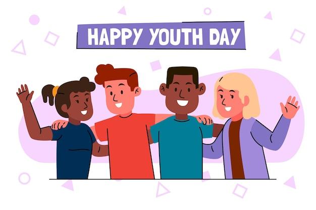 Pessoas se abraçando no dia da juventude Vetor grátis