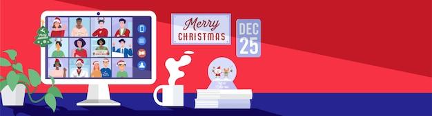 Pessoas se encontrando online por videoconferência em um computador no feriado de natal. Vetor Premium