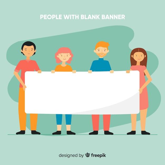 Pessoas, segurando, bandeira branca, fundo Vetor grátis