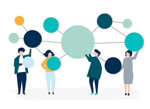 Pessoas, segurando, conectado, cópia, espaço, círculo, ícones Vetor grátis