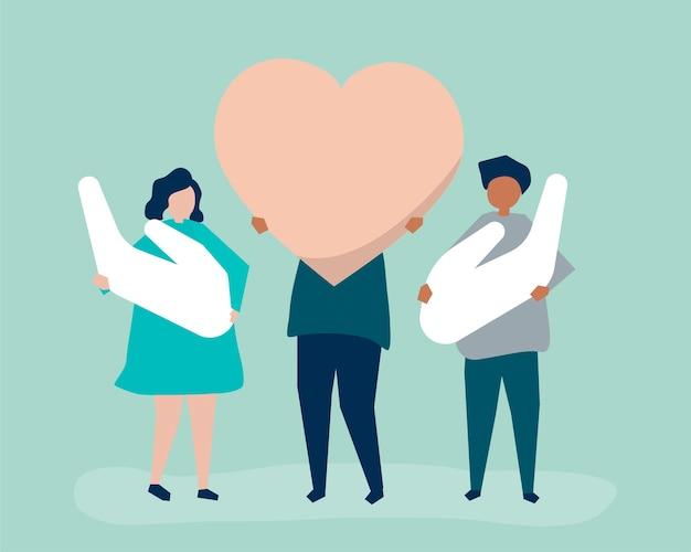 Pessoas, segurando, coração, e, mão, ícones Vetor grátis