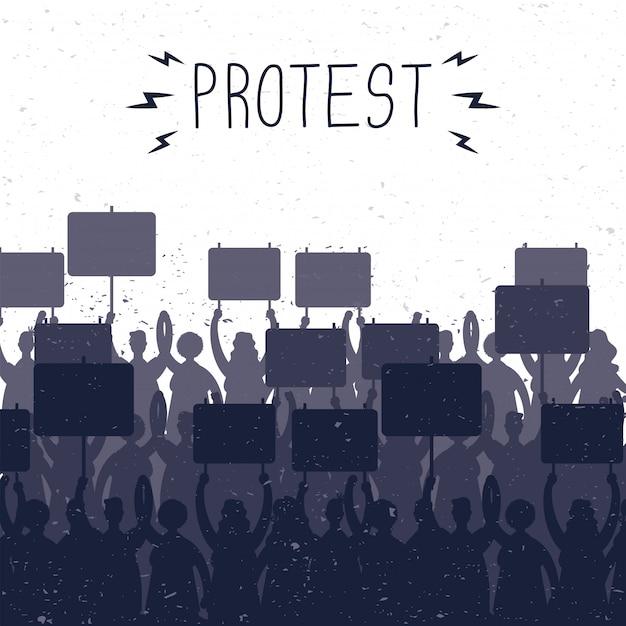Pessoas segurando faixas de protesto com silhuetas de ilustração de cena Vetor Premium