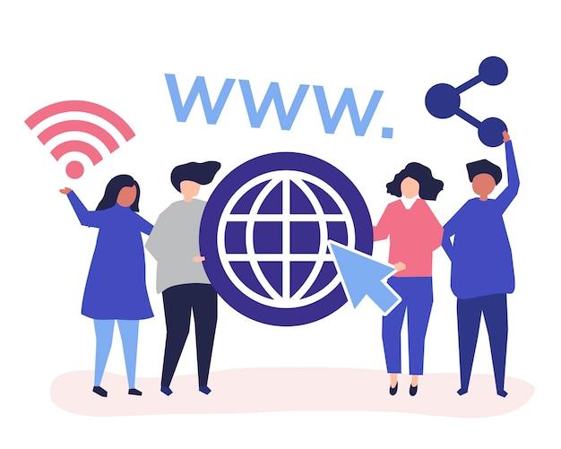 Pessoas segurando ícones da world wide web Vetor grátis