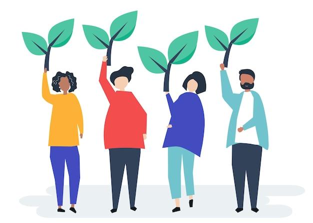 Pessoas segurando ícones de árvore para aumentar a consciência ambiental Vetor grátis