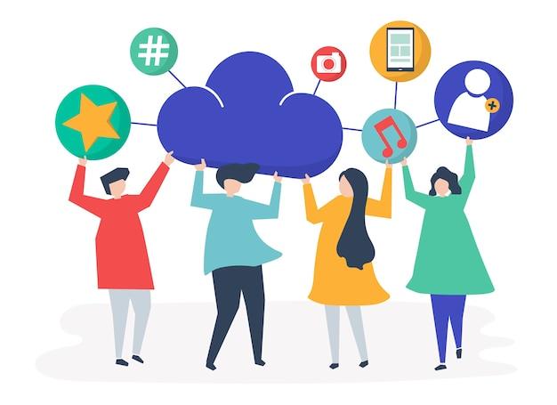 Pessoas, segurando, nuvem, e, social, networking, ícones Vetor grátis