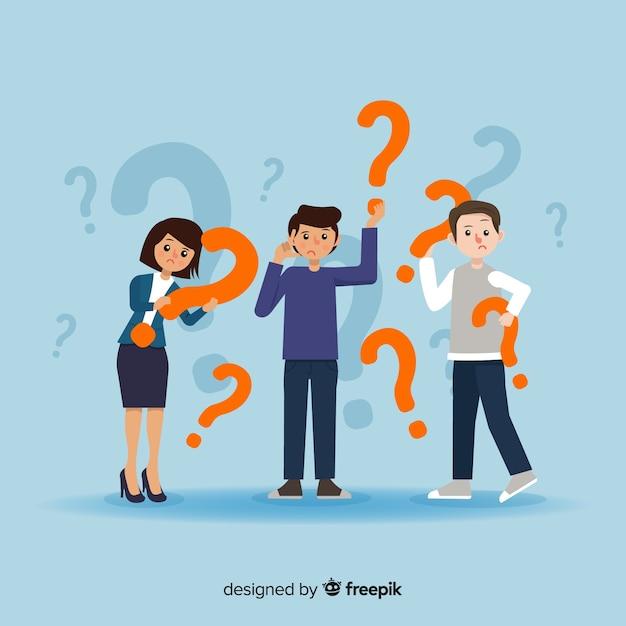 Pessoas, segurando, pergunta, marca, fundo Vetor grátis