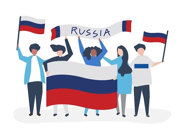Pessoas, segurando, russo, nacional, bandeiras Vetor grátis