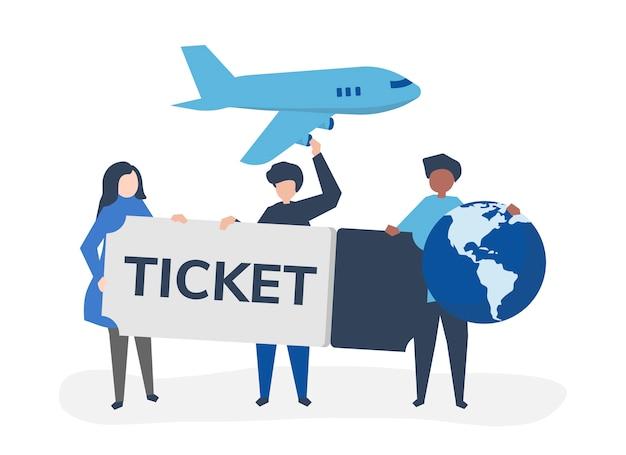 Pessoas segurando um bilhete de avião viajar ícones relacionados Vetor grátis
