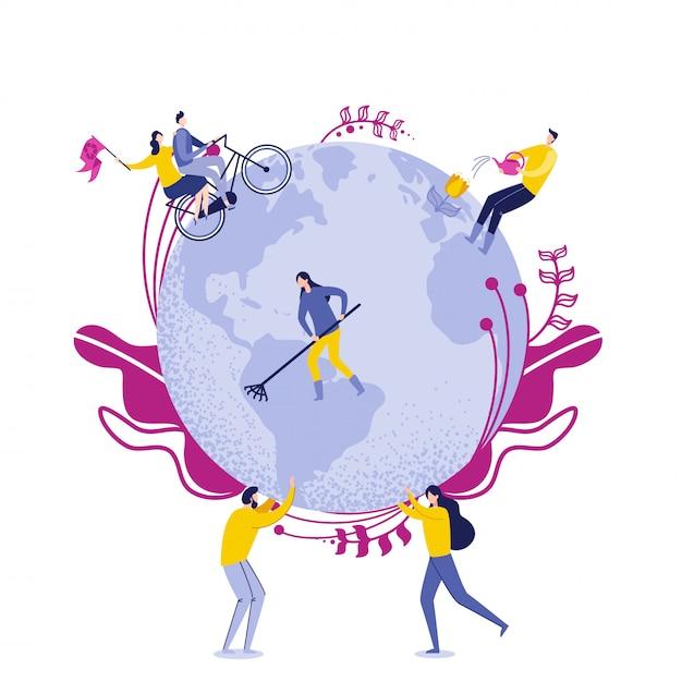 Pessoas segure o globo com trabalhadores cuidando da terra. Vetor Premium