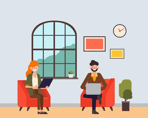 Pessoas sentado e trabalhando com um laptop na sala de entrada. Vetor Premium
