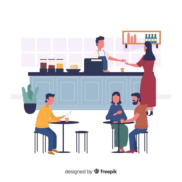 Pessoas, sentando, em, um, café Vetor grátis
