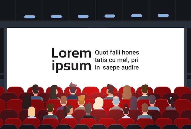 Pessoas, sente-se, cinema, corredor Vetor Premium