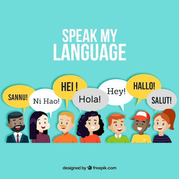 Pessoas sorridente falando línguas diferentes com design plano Vetor grátis