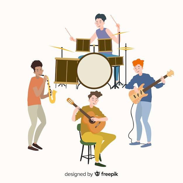 Pessoas, tocando, música, instrumentos Vetor grátis