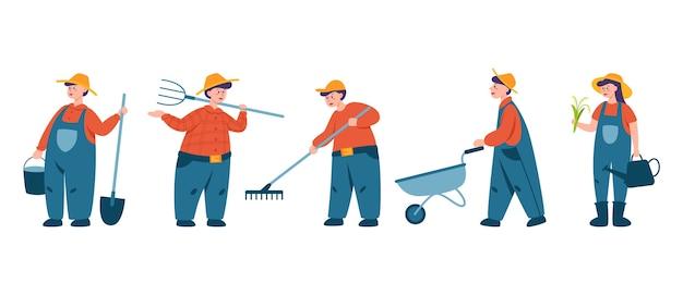 Pessoas trabalhando em um conjunto de fram. agricultores trabalhando no campo com forcado e pá. viver na aldeia. ilustração plana vetorial isolada Vetor Premium