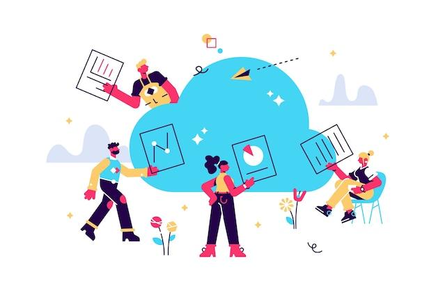 Pessoas trabalhando online, compartilhando documentos no armazenamento em nuvem Vetor Premium