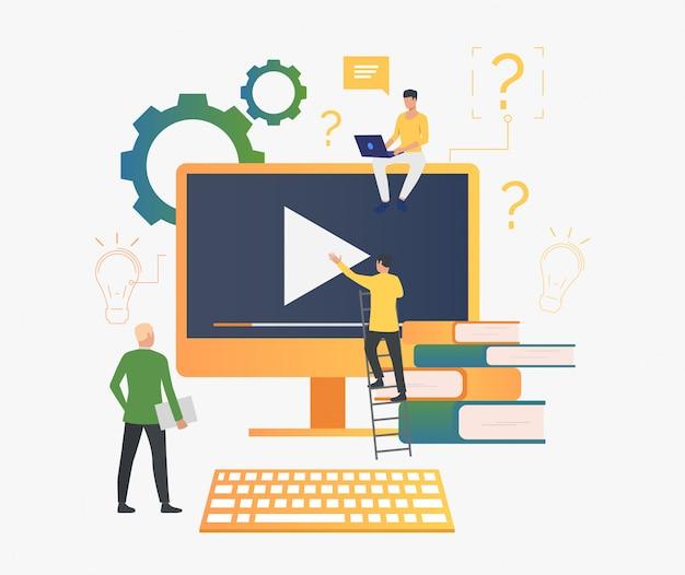 Pessoas, trabalhando, vídeo Vetor grátis