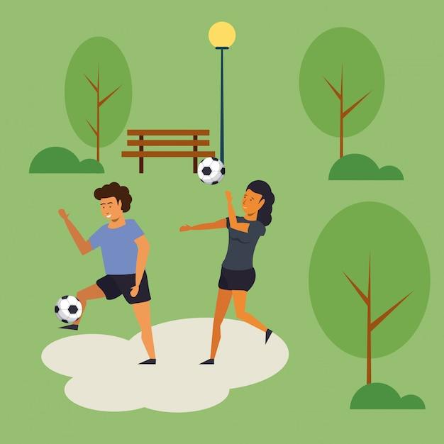 Pessoas treinando futebol no desenho animado do parque Vetor grátis