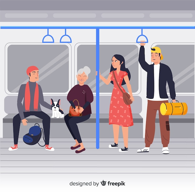 Pessoas, usando, a, metrô, fundo Vetor grátis