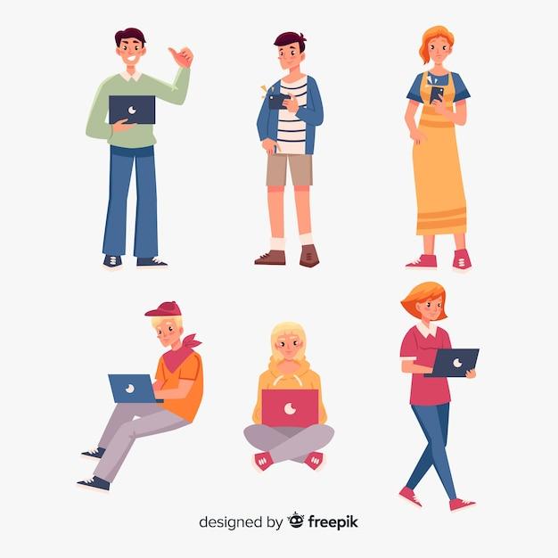 Pessoas usando dispositivos tecnológicos Vetor grátis