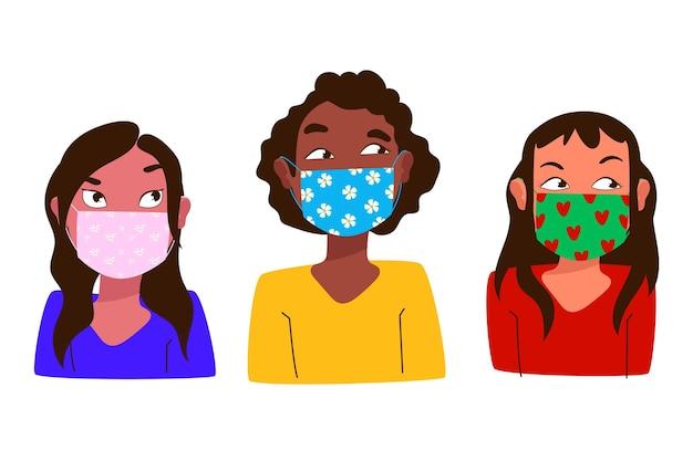 Pessoas usando máscaras de tecido com diferentes tipos de máscaras Vetor grátis