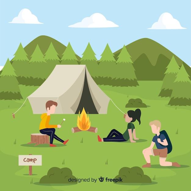 Pessoas vão acampar design plano Vetor grátis