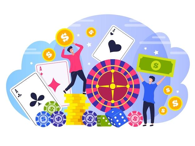 Pessoas vencedores de pôquer. conceito personagens vencedores felizes casino jogo risco legal estilizado plano de fundo. ilustração de pôquer e roleta, entretenimento legal em jogos Vetor Premium